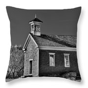 Grafton Schoolhouse - Bw Throw Pillow