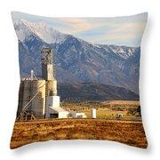 Grain Silo Below Wasatch Range - Utah Throw Pillow