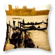 Grand Canal At Sunset - Venice Throw Pillow