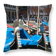 Grand Canal Gondolas Painting Throw Pillow