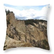 Grand Canyon Cliff In Yellowstone Throw Pillow