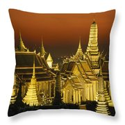 Grand Palace And Temple Of The Emerald Throw Pillow