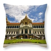 Grand Palace Chakri Mahaprasad Hall Front View Bangkok Throw Pillow