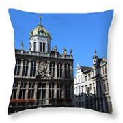 Grand Place Buildings Throw Pillow