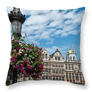 Grand Place Flowers Throw Pillow