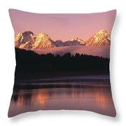 Grand Teton Mountains With Silhouetted Throw Pillow