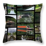 Grand Union Canal Collage Throw Pillow