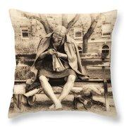 Granny Sitting On A Bench Knitting Ursinus College Throw Pillow