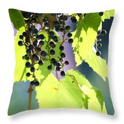 Grapes And Leaves Throw Pillow