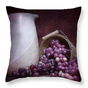 Grapes With Pitcher Still Life Throw Pillow by Tom Mc Nemar