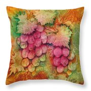 Grapes With Rust Background Throw Pillow