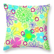 Graphic Flowers Throw Pillow