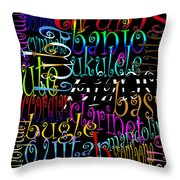 Graphic Music Throw Pillow