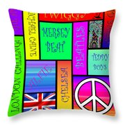 Graphic Sixties London Throw Pillow by Andrew Fare