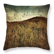 Grassy Hill Birds In Flight Throw Pillow