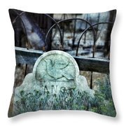 Gravestone With Dove Carved  Throw Pillow