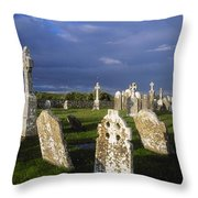Graveyard, Clonmacnoise, County Offaly Throw Pillow