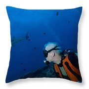 Gray Reef Shark With Diver, Papua New Throw Pillow by Steve Jones