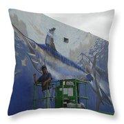 Gray Taxidermy Mural Throw Pillow