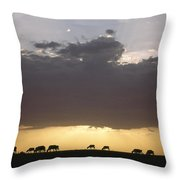 Grazing Cattle Silhouetted Throw Pillow