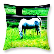 Grazing Horse Throw Pillow by Bill Cannon