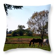 Grazing Horses Throw Pillow