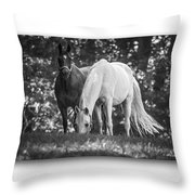 Grazing In Black And White Throw Pillow