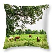 Grazing Under The Oak Throw Pillow