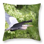 Great Blue Flight Throw Pillow