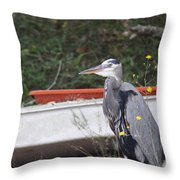 Great Blue Heron - Chicken Of The Sea Throw Pillow