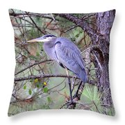 Great Blue Heron - Happy Place Throw Pillow