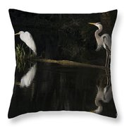 Great Blue Heron And Great Egret At Day's End Throw Pillow
