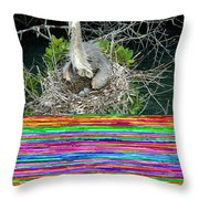 Great Blue Heron Ardea Herodias Nesting Throw Pillow
