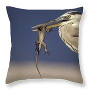 Great Blue Heron Ardea Herodias Preying Throw Pillow
