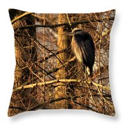 Great Blue Heron At Dusk Throw Pillow