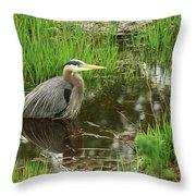 Great Blue Heron At The Marsh Throw Pillow