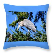 Great Blue Heron Concentration Throw Pillow