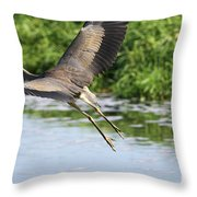 Great Blue Heron Escape Throw Pillow