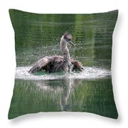 Great Blue Heron Having A Bath Throw Pillow