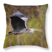 Great Blue Heron In Flight II Throw Pillow