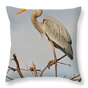 Great Blue Heron In Habitat Throw Pillow
