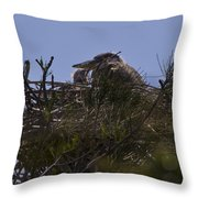 Great Blue Heron In Nest Throw Pillow