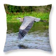 Great Blue Heron Inflight Throw Pillow