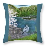 Great Blue Heron Throw Pillow by Judy M Watts-Rohanna