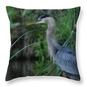 Great Blue Heron Painterly Throw Pillow