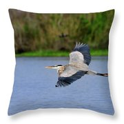 Great Blue Heron Soaring Throw Pillow