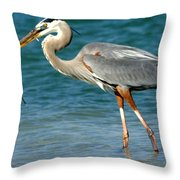 Great Blue Heron With Catch Throw Pillow