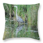 Great Blue Heron With Reflection Throw Pillow