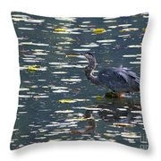 Great Blue Heron With Snack Throw Pillow