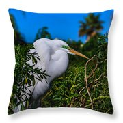 Great Egret In A Tree Throw Pillow